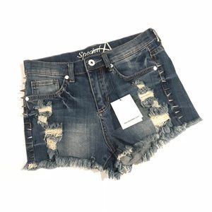 Pants - NWT High Waisted Denim Jean Shorts Destroyed Stud